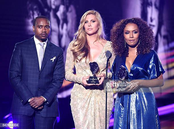 Tiq Milan Canids Cayne and Janet Mock speak at 2016 Logo's Trailblazer Honors at Cathedral of St John the Divine on June 23 2016 in New York City...