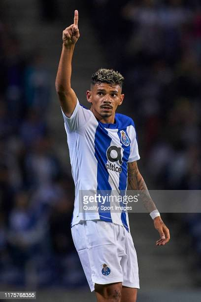 Tiquinho Soares of FC Porto celebrates after scoring his team's first goal during the UEFA Europa League group G match between FC Porto and BSC Young...