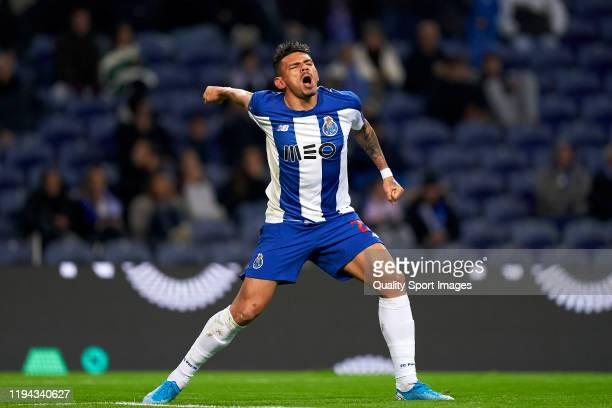 Tiquinho Soares of FC Porto celebrates after scoring his team's first goal during the Liga Nos match berween FC Porto and CD Tondela at Estadio do...