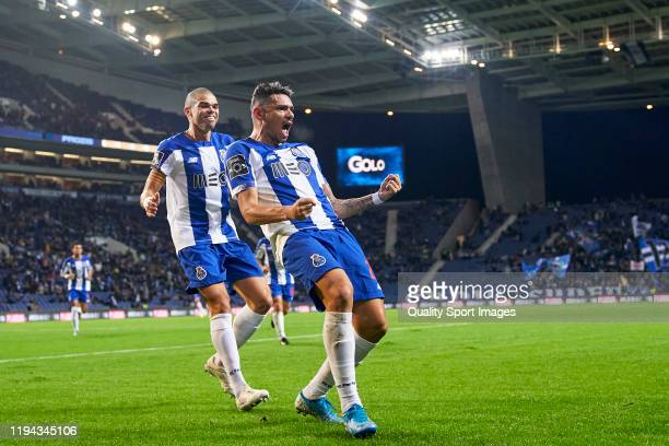 Tiquinho Soares of FC Porto celebrates after scoring his team's second goal during the Liga Nos match berween FC Porto and CD Tondela at Estadio do...