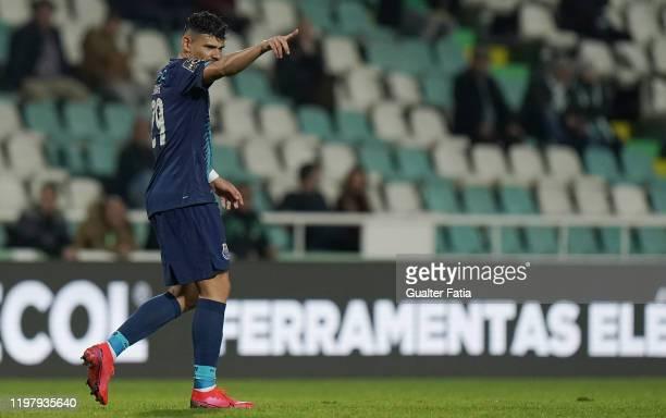 Tiquinho Soares of FC Porto celebrates after scoring the third goal of his team during the Liga NOS match between Vitoria FC and FC Porto at Estadio...
