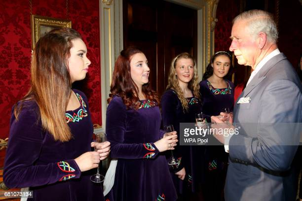 Tir na NOg Irish Dancers Sarah White Rose McAuley Zoe McGarry and Naomi Brown meet Prince Charles Prince of Wales at a Music Words for a Spring...