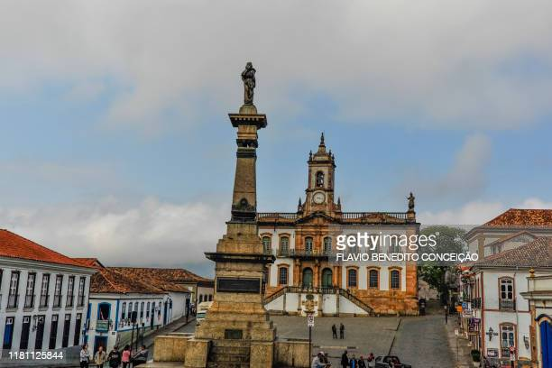 tiradentes square with 18th century buildings in the historic city of ouro preto in minas gerais, brazil. - preto stock pictures, royalty-free photos & images