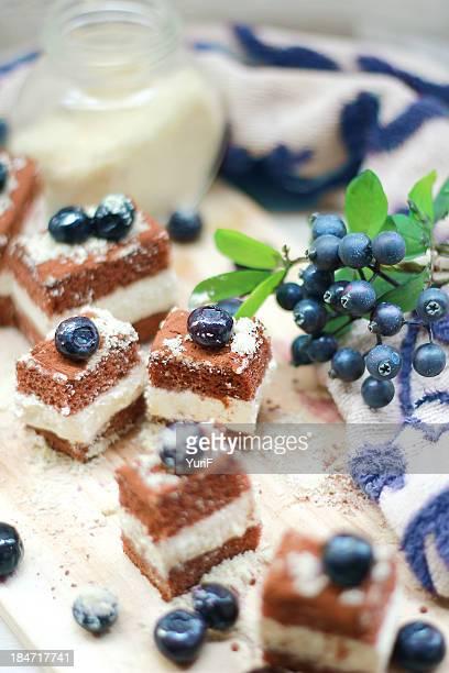 Tiramisu and blueberries.