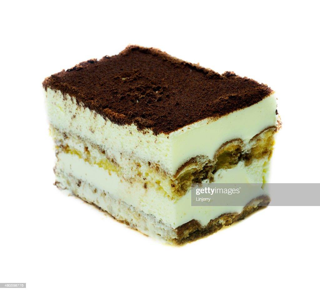 tiramisu cake isolated on white background : Stock Photo