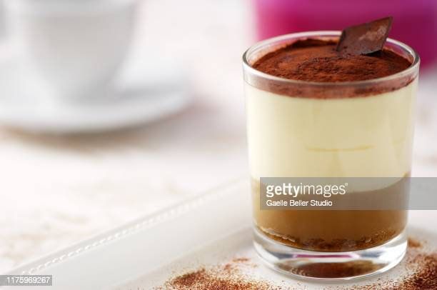 tiramisu in glass with chocolate garnish - mascarpone cheese stock pictures, royalty-free photos & images