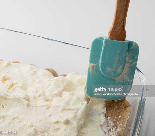Tiramisu preparation and blue spatula