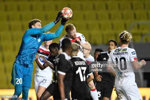 Tiraspol , Moldova - 24 September 2020; Zvonimir Mikuli of FC Sheriff Tiraspol saves from Sean Hoare of Dundalk during the UEFA Europa League Third...