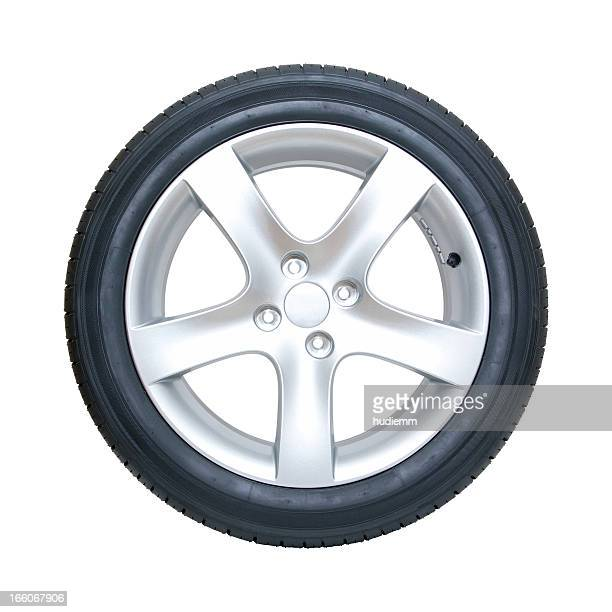 Tire and Wheel (Clipping Path!) isolated on white background