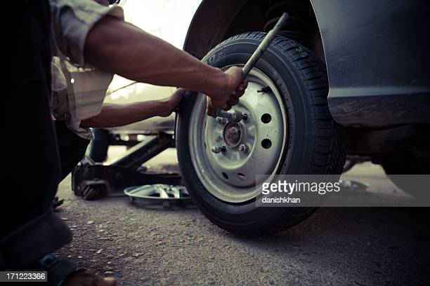 Tire Changing at Workshop