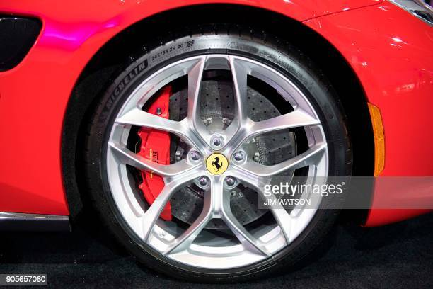 A tire from French manufacturer Michelin is on a Ferrari Portofino during the 2018 North American International Auto Show in Detroit Michigan on...