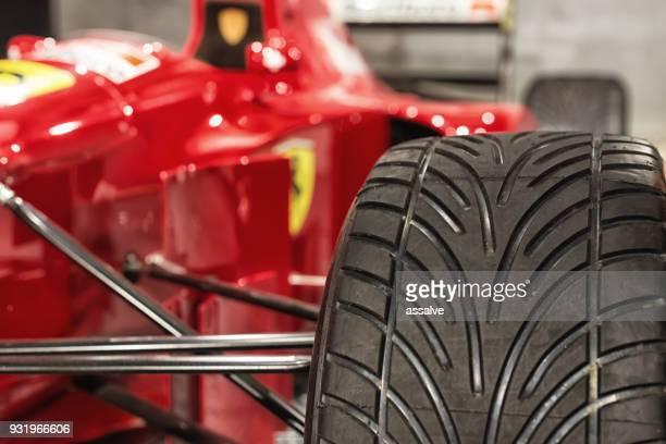 tire of a ferrari formula 1 racing car - ferrari stock pictures, royalty-free photos & images