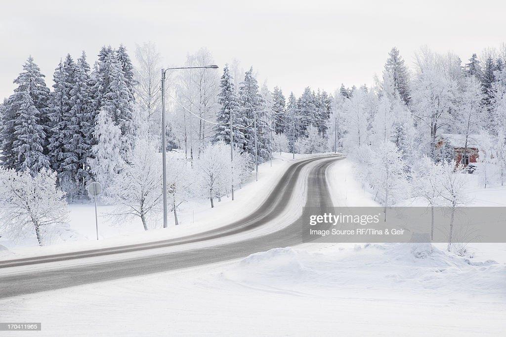Tire tracks in snowy rural road : Stock Photo
