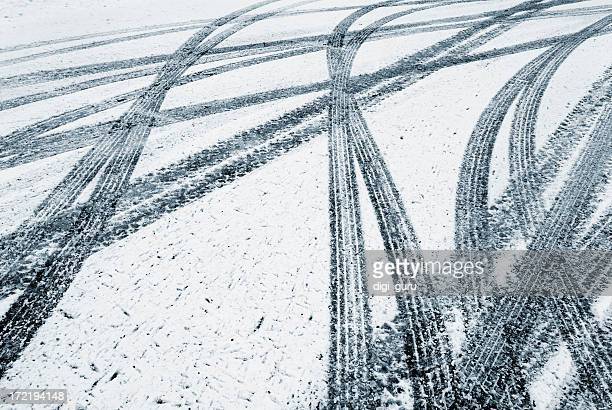 tire tracks in the fresh snow - track imprint stock photos and pictures