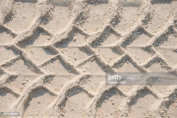 Tire tracks in the sand, Etosha Pan, Etosha National Park, Namibia