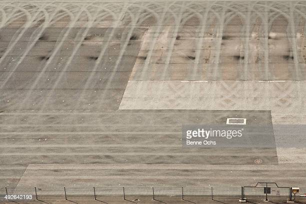 Tire tracks making a pattern on a sports track