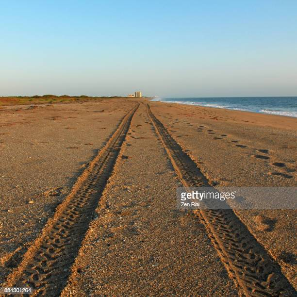 Tire tracks on a beach in Fort Pierce, Florida, USA