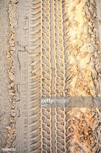 Tire tracks on the desert