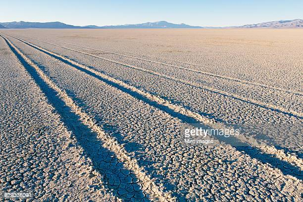 Tire tracks on the dry surface of the desert.