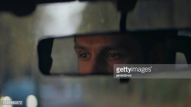 tired car driver falls asleep - rear view mirror stock pictures, royalty-free photos & images