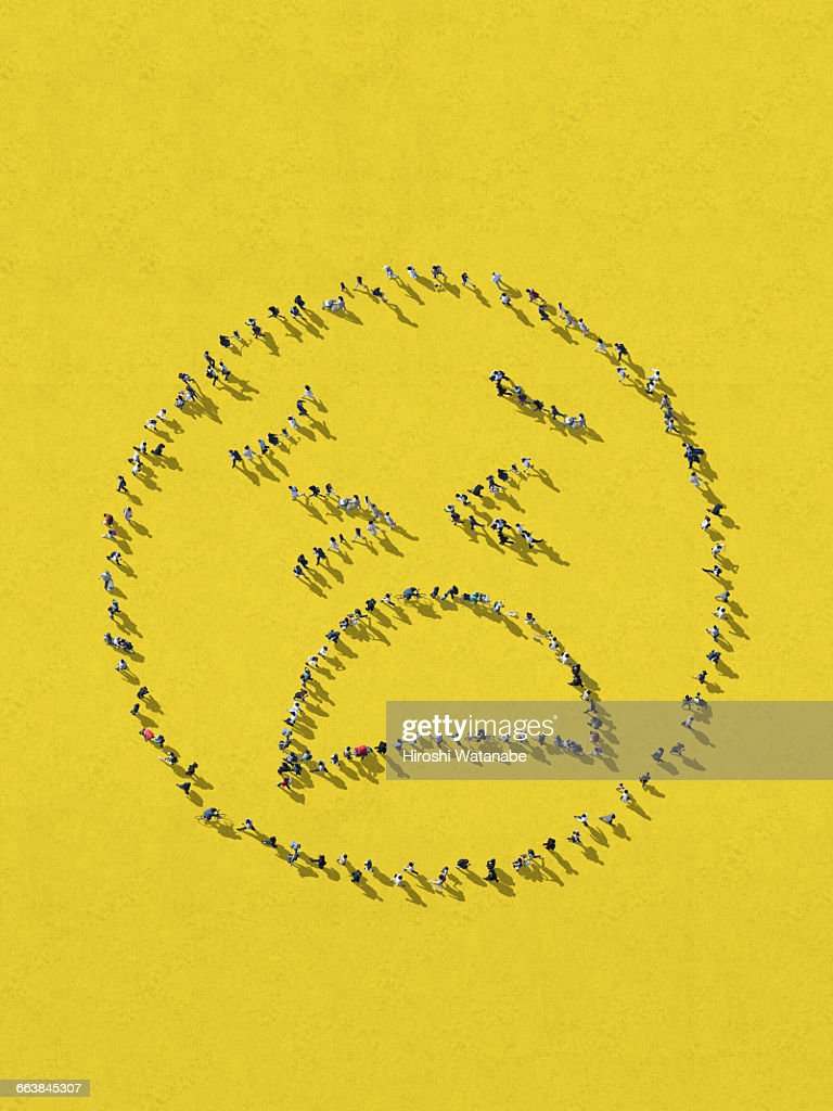 Tired Face Emoji Made Of Walking People Stock Photo - Getty Images
