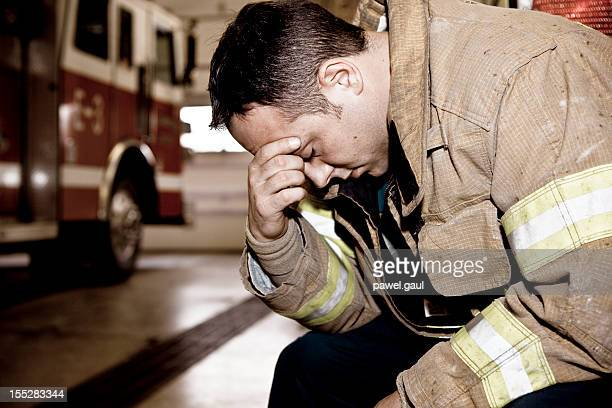 Tired firefighter