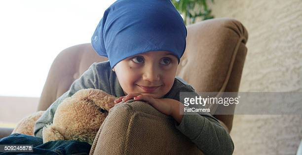 Tired Little Boy with Cancer