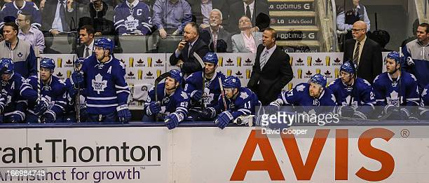 Tired looking Leafs bench in the final minutes as the Toronto Maple Leafs play the New York Islanders at the Air Canada Centre David Cooper/Toronto...