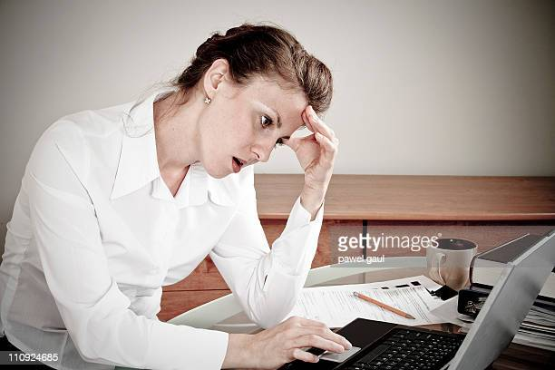 tired woman in office - deterioration stock pictures, royalty-free photos & images