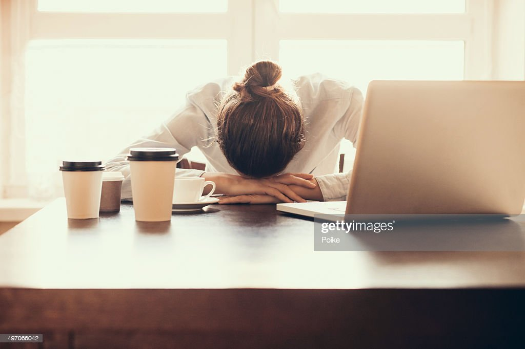woman sleep at desk