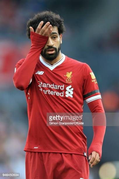 Tired-looking Mohamed Salah of Liverpool seen during the Premier League match between Liverpool and AFC Bournemouth at Anfield on April 14, 2018 in...