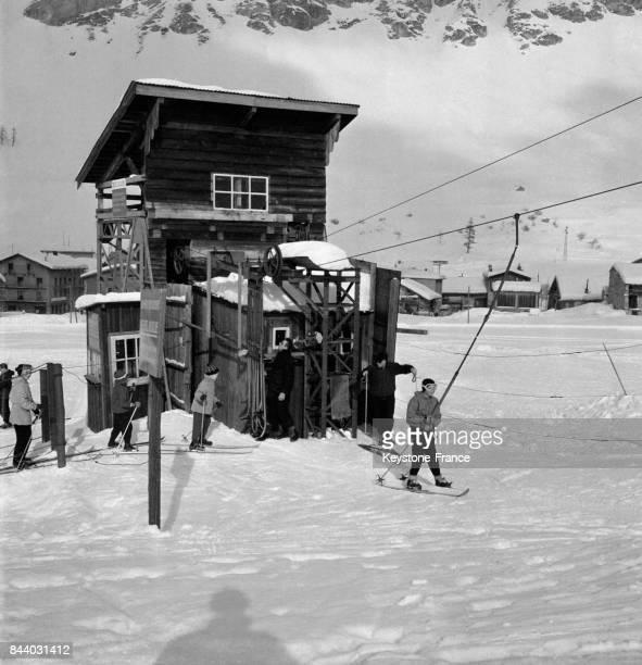 Tirefesse au Val d'Isère France en février 1956