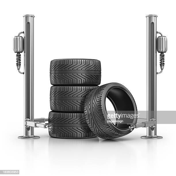 tires and hydraulic platform