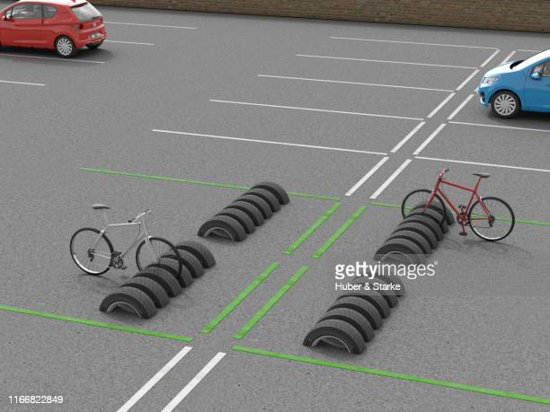 tires as bicycle rack, upcycling