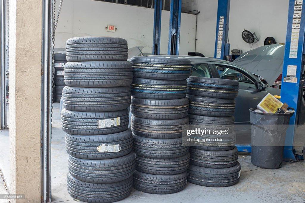 Tires at the Repair Shop : Stock Photo
