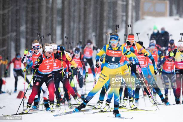 Tiril Eckhoff of Norway and Elvira Oeberg of Sweden lead the field during the Women 12.5 km Mass Start Competition at the BMW IBU World Cup Biathlon...