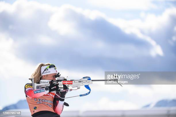 Tiril Eckhoff of Norway at the shooting range during a training session for the IBU World Championships Biathlon Antholz-Anterselva on February 12,...