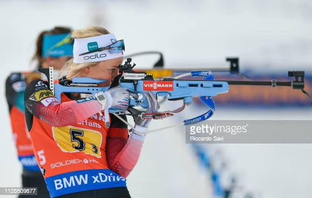 Tiril Eckhoff of Norway at the shooting range during the Mixed 2X75 2X6KM Relay Competition of the IBU World Cup Biathlon 2019 on February 17 2019 in...