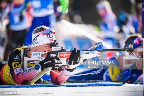 Tiril Eckhoff of Norway at the shooting range during the Women 15 km Individual Competition at the BMW IBU World Cup Biathlon Pokljuka on January 24,...