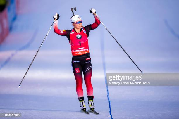 Tiril Eckhoff of Norway competes during the Women 10 km Pursuit Competition at the BMW IBU World Cup Biathlon Le Grand Bornand on December 21 2019 in...