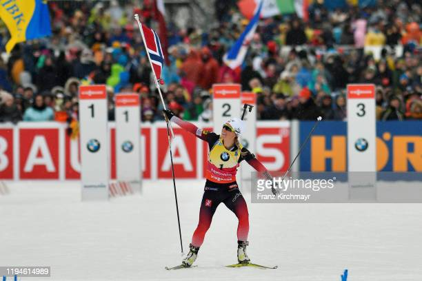 Tiril Eckhoff of Norway competes during the women 10 km Pursuit Competition at the BMW IBU World Cup Biathlon Ruhpolding at Chiemgau Arena on January...