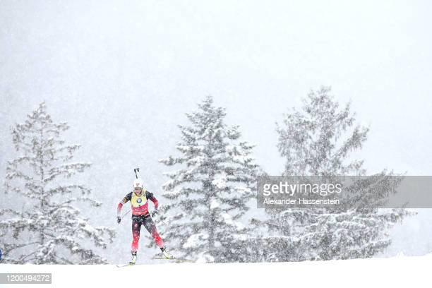 Tiril Eckhoff of Norway competes during the Women 10 km Pursuit Competition at the BMW IBU World Cup Biathlon Ruhpolding on January 19 2020 in...