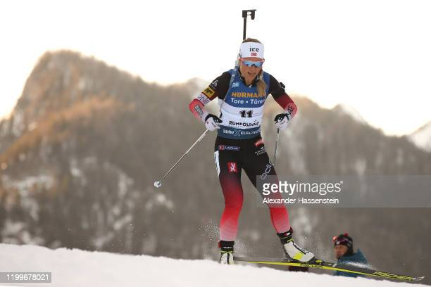 Tiril Eckhoff of Norway competes during the Women 75 km Sprint Competition at the BMW IBU World Cup Biathlon Ruhpolding on January 15 2020 in...