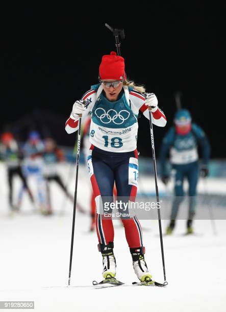 Tiril Eckhoff of Norway competes during the Women's 125km Mass Start Biathlon on day eight of the PyeongChang 2018 Winter Olympic Games at Alpensia...