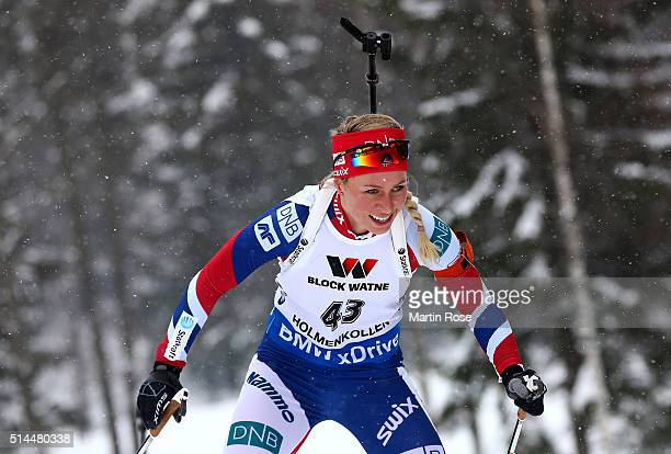 Tiril Eckhoff of Norway competes in the women's 15km individual during day six of the IBU Biathlon World Championships at Holmenkollen on March 9...