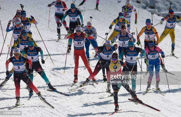 Tiril Eckhoff of Norway competes to win the Women's 12,5 km Mass Start event at the IBU World Cup Biathlon in Nove Mesto, Czech Republic, on March 8,...