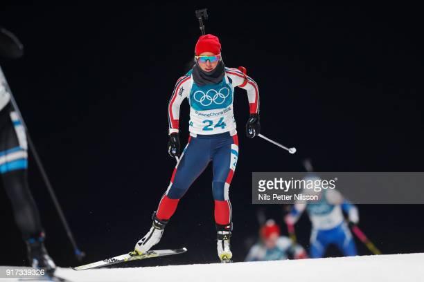 Tiril Eckhoff of Norway during the Womens Biathlon 10km Pursuit at Alpensia Biathlon Centre on February 12 2018 in Pyeongchanggun South Korea
