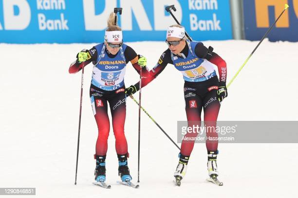 Tiril Eckhoff of Norway hand-over to her team mate Marte Olsbu Roiseland during the Women 4x6 km Relay Competition at the BMW IBU World Cup Biathlon...