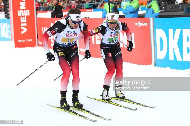 Tiril Eckhoff of Norway hands over to her team mate Tarjei Boe during the Mixed Relay at the IBU World Championships Biathlon Antholz-Anterselva on...