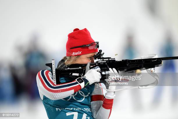 Tiril Eckhoff of Norway in action during Biathlon Women's 75km Sprint Official Training ahead of the PyeongChang 2018 Winter Olympic Games at...